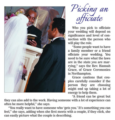 Daily Hampshire Gazette Bridal Guide Interview with Grace Ceremonies | Rev. Hannah Grace, Ordained Interfaith Minister, Wedding Officiant, Celebrant, Reiki Master, Certified Psychosynthesis Practitioner